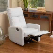 small leather chairs for small spaces. Teyana White Leather Recliner Club Chair - Small Recliners Chairs For Spaces