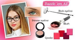 wearing makeup with gles emo makeup