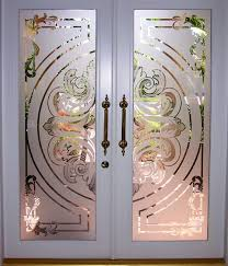 glass etching designs for doors with painted wood frame door