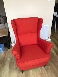 rare ikea strandmon red wing chair original 179