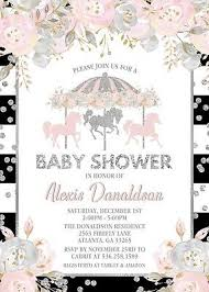 baby girl invite carousel baby shower invitation floral invite pink silver