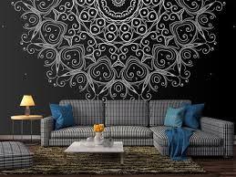 metallic silver mandala wallpaper
