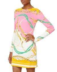 Jb Julie Brown Size Chart Morgan Positano Long Sleeve Shift Dress Pink Orange