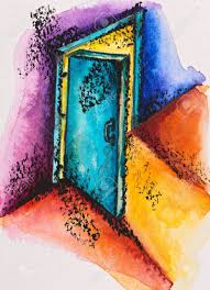 open door pencil drawing. Abstract Open Door With Light, Watercolor Slate-pencil Painting Stock Photo - 16536798 Pencil Drawing A
