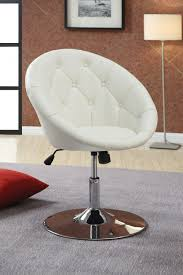 Swivel Living Room Chairs Contemporary Modern Uphosltered White Leather Swivel Desk Chair With Tufted