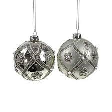 Amazonde 2 Glaskugeln Creme Silber Glitter Strass Perlen