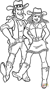 Color Sheets Cowboy And Girl Cowboy And Cowgirl Coloring Online