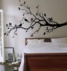 Wall Tree Stencil Designs Birds On A Branch Tree Birds Giant Wall Sticker Vinyl Art
