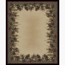 pine cone border area rug
