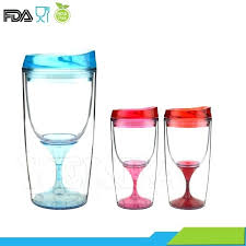 plastic wine glass plastic insulated wine glasses colorful top party travel drink wine plastic tumbler