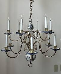 superb vintage delft chandelier two tier blue white pottery brass