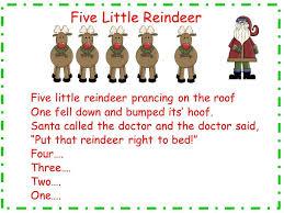 Five Little Reindeer Song And Song Chart Preschool