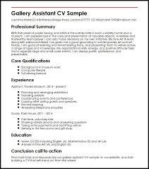 Gallery Assistant Cv Sample Myperfectcv
