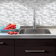 Smart Tiles Kitchen Backsplash Smart Tiles 985 In X 985 In Adhesive Decorative Wall Tile