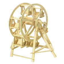 child 3d wooden ferris wheel construction kit diy puzzle toy gift 0