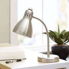 mainstays metal silver desk lamp shade table study light cfl bulb gooseneck home hover to zoom