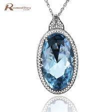 whole british princess diana s vintage pedants soild 925 silver necklace big lab aquamarine pendant women engagement wedding jewelry s18101307 red