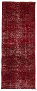 red over dyed turkish vintage runner rug 4 8 x 12