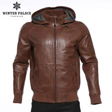 upscale fashion new products leather jacket genuine leather hooded leather jacket men dark brown mens leather