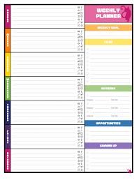 cute weekly calendar worksheet template