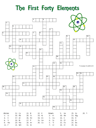 Crossword puzzle with the first forty elements. The clues are the ...
