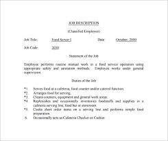 food server job description example pdf template free download food server job description