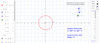what is the general form of an equation centered at the origin with a radius of r 2 adjust the h slider describe how the circle changes geometrically 3