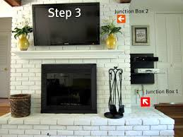 how to hide wires when mounting tv above brick fireplace image