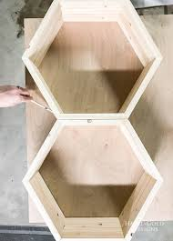 diy hexagon shelf for craft storage trace hexagons to get correct size for backing