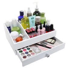 White Makeup Organizer Amazoncom Desktop Shabby Chic Wood Cosmetic Makeup Organizer Box