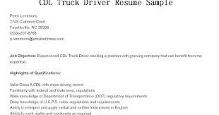 Cdl Driver Resume Truck Driver Resume Medical Transportation Driver