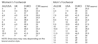 Magnum Size Chart Footwear Sizing Chart And Guide Tactical Gear Australia