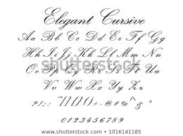 Letters By Number Elegant Cursive Font Cursive Letters Numbers Stock Vector Royalty