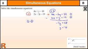 simultaneous equations gcse maths higher revision exam paper