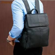<b>PNDME high quality</b> genuine leather men's black backpack casual ...