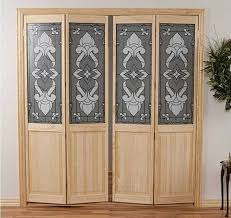 stained glass bifold closet doors with natural wooden