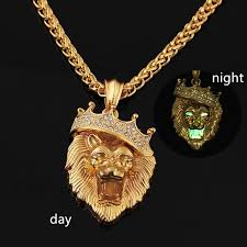 whole designer jewelry hip hop lion king big size rapper crazy mens necklace night lights alloy fashion street long chain crystal shinning silver heart