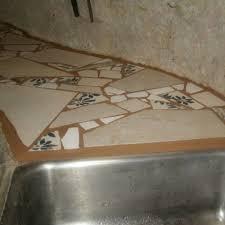 broken tile mosaic counter