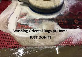 the link below will demonstrate why you should never have any wool or fine oriental rug washed in your home area rugs should be brought to a facility