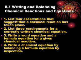 8 1 writing and balancing chemical reactions and equations