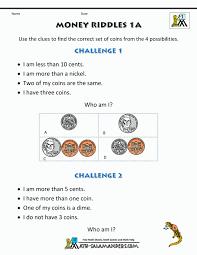 Math Worksheets 1st Grade Money Riddles For Graders Printable Fun ...