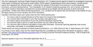 Background Check Authorization Form Amazing Tenant Background And Credit Check Authorization Form For Landlords