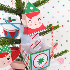 Paper Crafts For Christmas Teddy Jack In Box Rocking Horse Ornaments Printable Paper