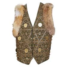 john galliano embellished green leather vest with fur trim 2000s for