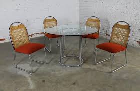 mid century modern mid century daystrom round glass chrome dinette table and four wicker