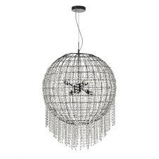 lupita large globe shaped chandelier style pendant with cascading crytsal strands
