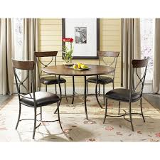 hilale furniture cameron 5 piece round wood and metal dining table set with x back chairs in distressed chestnut brown