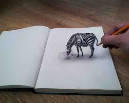 نقاشی سه بعدی گورخر