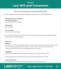 Last Will And Testement Form Last Will Testament Form Free Last Will US LawDepot 8