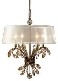 crystal chandelier with sheer drum shade sheer fabric drum shade chandelier with burnished gold finish and crystal chandelier with sheer drum shade